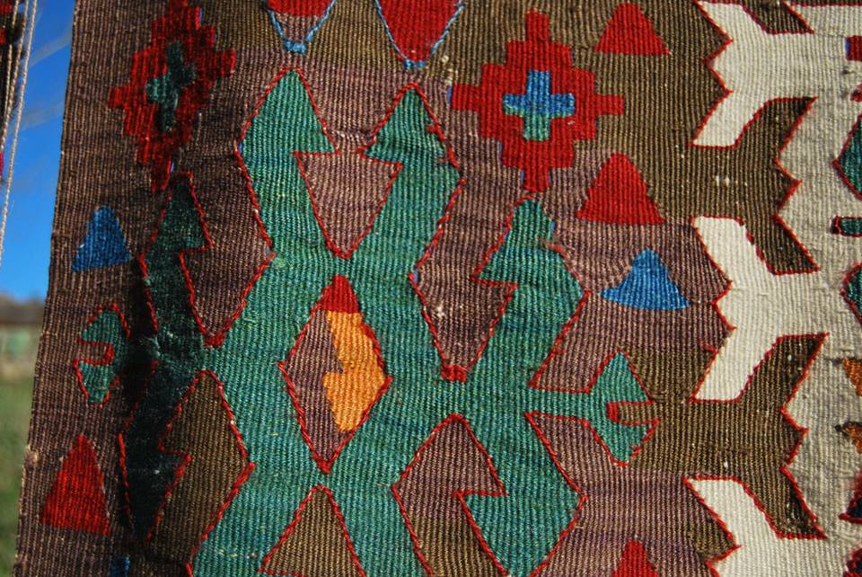Brown color obtained from plants on a 19th century Konya kilim, Central Turkey