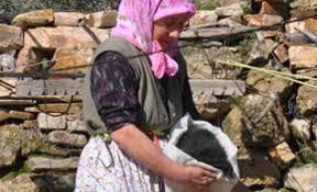 Goat hair spun with big spinning wheels Olukbaşı, Bozgoğan, Aydın, Western Turkey 2016