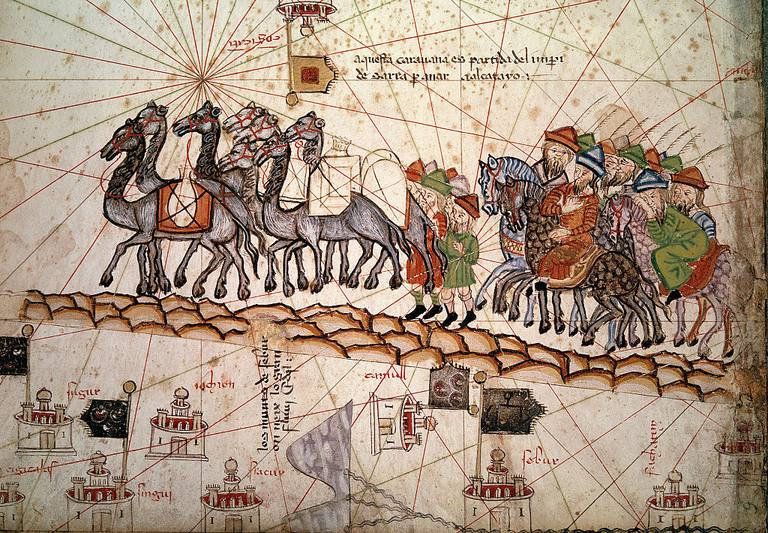 Medieval picture depicting the journey of MArco Polo Crossing the Silk Road 14th century