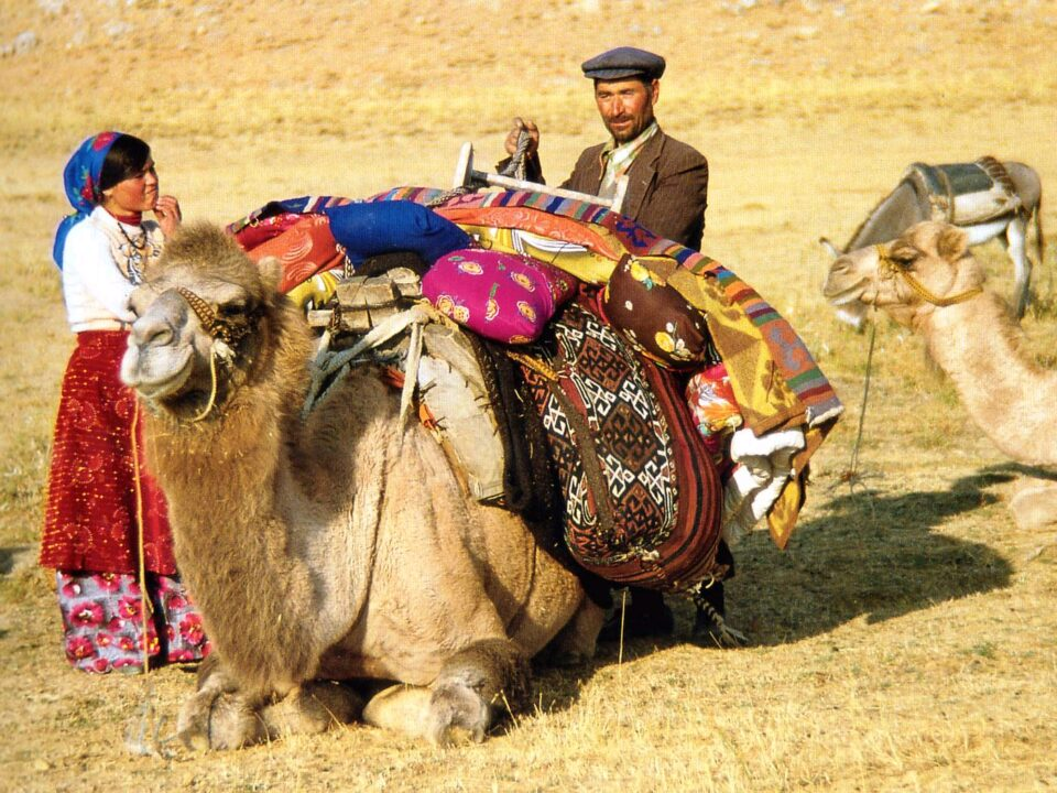 A father-daughter couple fixing the nomad bags onto a camel before migration, Kahramanmaraş, South-Eastern Turkey, 1980s, Photo courtesy Josephine Powell